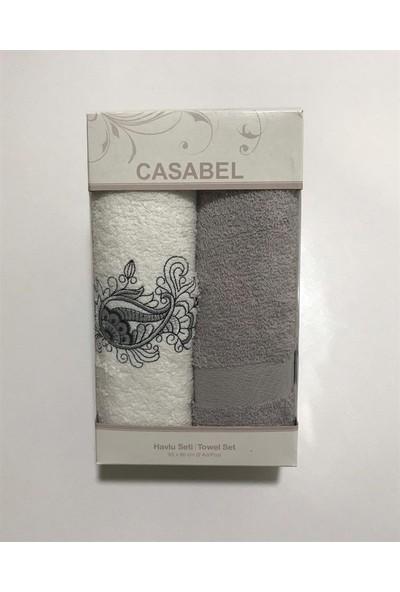 Casabel 2'li Kutulu Havlu Seti Gri