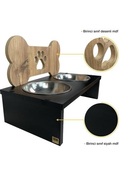 Odun Concept Ahşap Köpek Mama ve Su Kabı Kemik 2'li