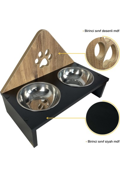Odun Concept Ahşap Köpek Mama ve Su Kabı Pati 2'li