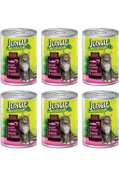Jungle Somonlu Karidesli Konserve Kedi Maması 415 gr 6'lı
