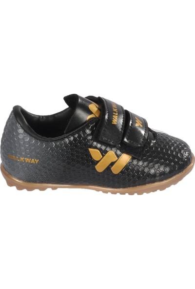 Walkway 023 Siyah-Altın Çocuk Halı Saha Ayakkabısı