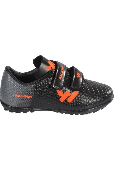Walkway 023 Siyah-Turuncu Cırtlı Çocuk Halısaha Ayakkabı
