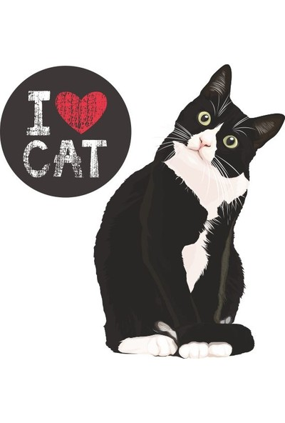 Sticker Fabrikası I Love Cat Kedi Sticker 00253 12 x 12 cm Renkli