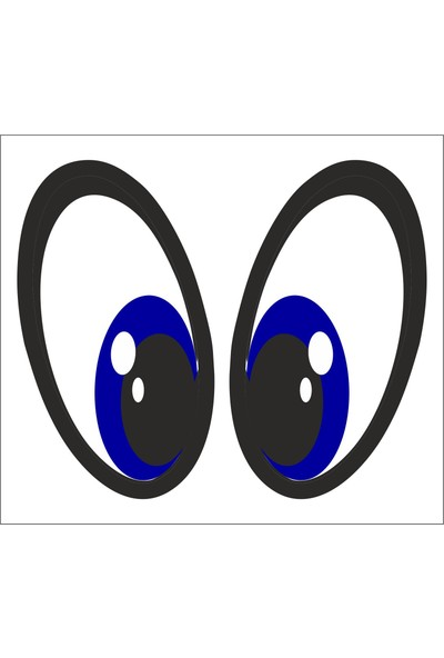 Sticker Fabrikası Mavi Gözler Sticker 00218 5 x 9 cm Renkli