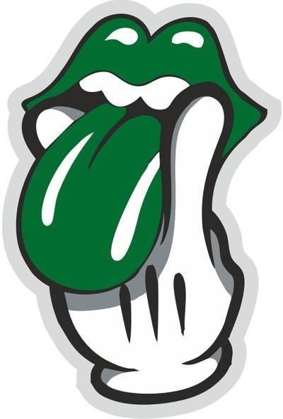 Sticker Fabrikası Yeşil Dil Tutan El Sticker 00242 9,5 x 14 cm Renkli