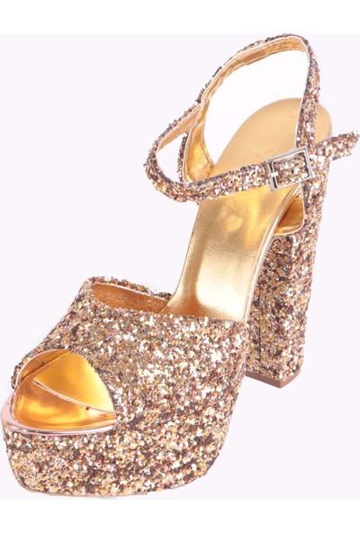 Rubrica Abiye Ayakkabısı Simli Bej