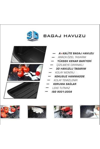 Rizline Peugeot 308 2008-2013 3D Bagaj Havuzu