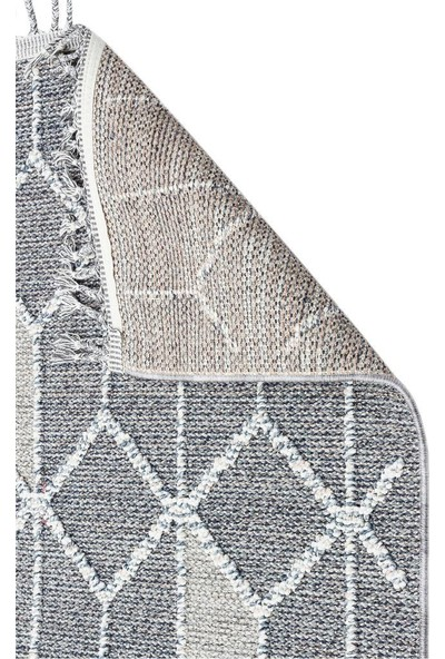 Eko Halı Soho Sh 03 Gri Hav Vermez Etnik Örgü Ince Halı Kilim 160 x 230 cm