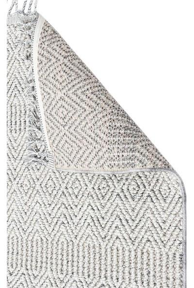 Eko Halı Soho Sh 01 Grey Gri Hav Vermez Etnik Örgü Ince Halı Kilim 80 x 150 cm