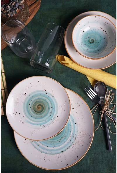 Tulü Porselen Galaxy Turkuaz Yemek Takımı 6 Kişilik 24 Parça