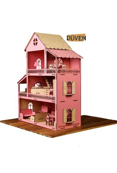 Düven Hobi Evi Ahşap Barbie Oyun Evi