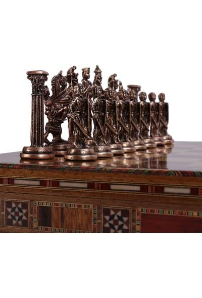 Gift Home 5 No. İngiliz Antik Bakır Satranç Taşları ve Masif Ahşap Sandıklı Satranç Tahtası