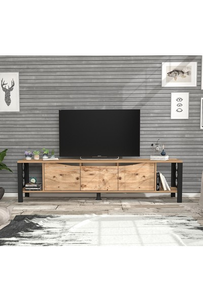 Wood'n Love Lada Metal Ayaklı Tv Ünitesi Atlantik Çam Siyah 160 cm