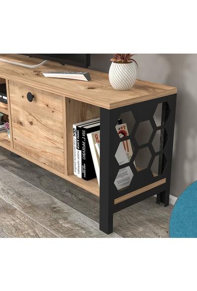 Wood'n Love Asena 160 cm Metal Ayaklı Tv Ünitesi Atlantik Çam Siyah