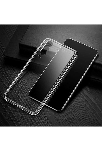 Case 4U Xiaomi Mİ A3 Kılıf Süper Silikon Arka Kapak + Cam Ekran Koruyucu Şeffaf
