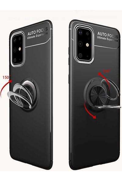 Case 4U Samsung Galaxy A51 Kılıf Yüzüklü Darbeye Dayanıklı Arka Kapak Ravel + Cam Ekran Koruyucu Siyah