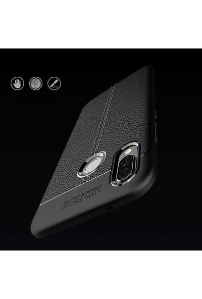 Case 4U Huawei P20 Lite Kılıf Darbeye Dayanıklı Niss Arka Kapak + Cam Ekran Koruyucu Siyah