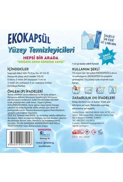 Ekokapsül Yüzey Temizleyicileri Hepsi Birarada Konsantre Formül - 5'li Set (Zemin-Banyo-Çok Amaçlı-Mutfak-Cam Yüzeyler İçin) 10 ml