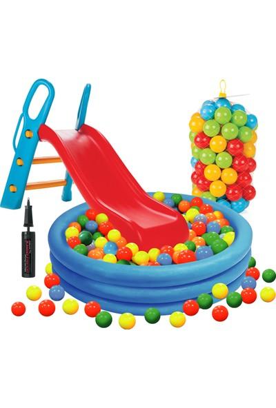 Vardem Kaydıraklı Oyun Seti ( Büyük Mavi Havuz / 6 cm 100'lü Oyun Havuz Topu / Pompa / Kaydırak)