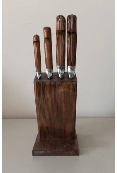 Lazoğlu Sürmene 4'lü El Yapımı Kasap Mutfak Bıçak Seti