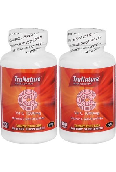 Trunature Vitamin C Kuşburnu Ekstresi 1000 Mg 100 Tablet C Vitamini 2 Kutu