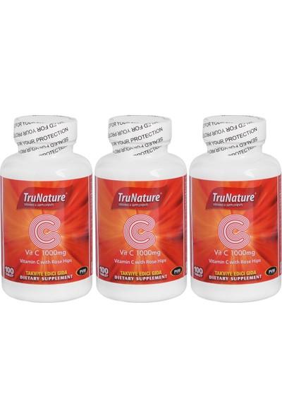 Trunature Vitamin C Kuşburnu Ekstresi 1000 Mg 100 Tablet C Vitamini 3 Kutu