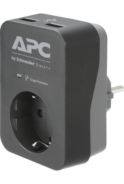 Schneider Electric APC Tekli Akım Korumalı Priz + 2 USB Hızlı Şarj, PME1WU2B-GR
