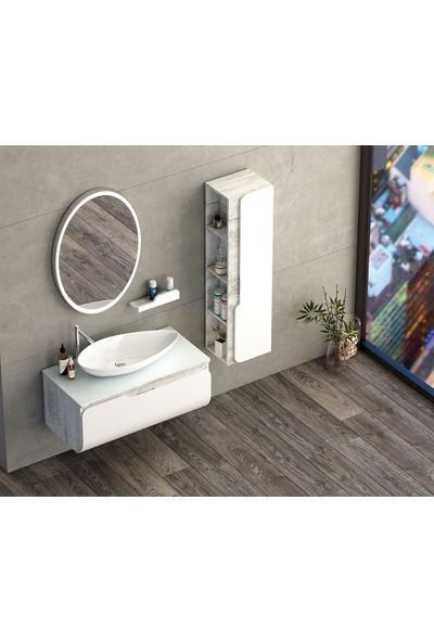 Nplus Kuga 100 cm Beyaz Banyo Dolabı