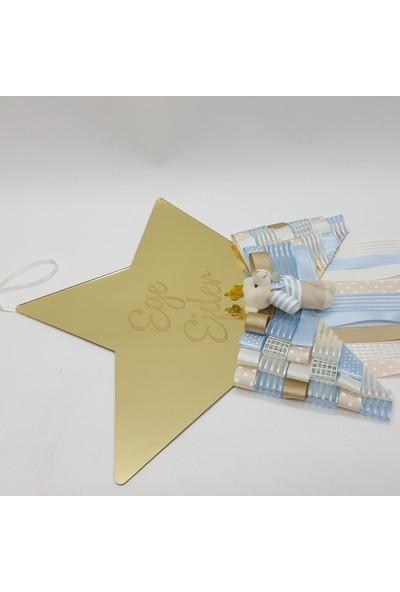 Baby Design Kişiye Özel Püsküllü Pleksi Yıldız Bebek Kapı Süsü Gold-Mavi