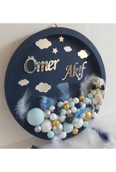 Baby Design Ayıcıklı Bulut Bubble Ahşap Pano Bebek Kapı Süsü - Lacivert-Mavi