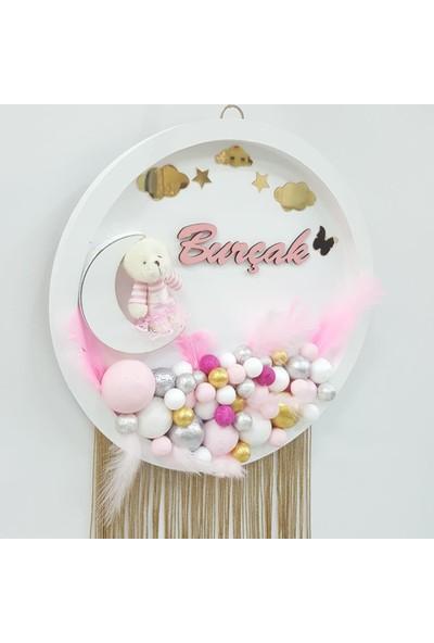 Baby Design Ayıcıklı Bulut Bubble Ahşap Pano Kapı Süsü - Beyaz-Pembe
