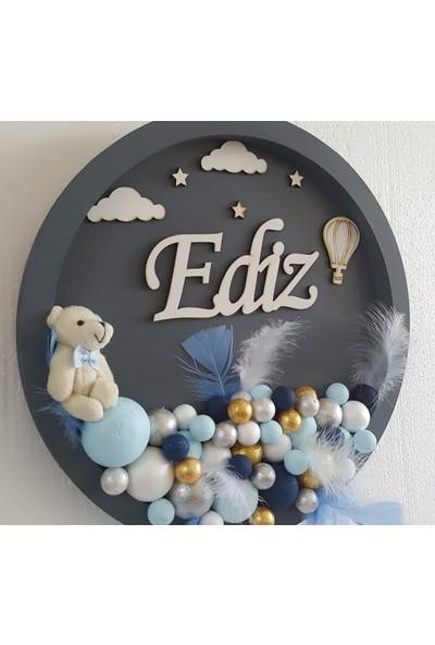 Baby Design Bebek Odası Isme Özel Kapı Süsü Ayıcıklı Bulut Bubble