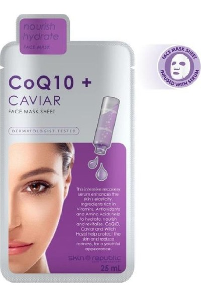 Skin Republic Koenzim Q10 ve Havyar Özlü Yüz Maskesi 25 ml