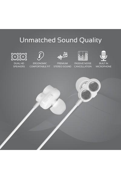 Promate Ivory Kulak İçi Stereo Kulaklık Çift Hoparlörlü Mikrofonlu Kablolu