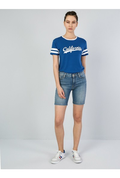 Colins Super Slim Fit Mavi Kadın Jean Şort