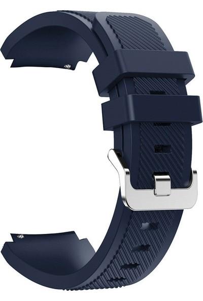 Case Street Huawei Watch Gt2 46 mm Kordon Silikon Çizgili Silikon Kançalı Lacivert