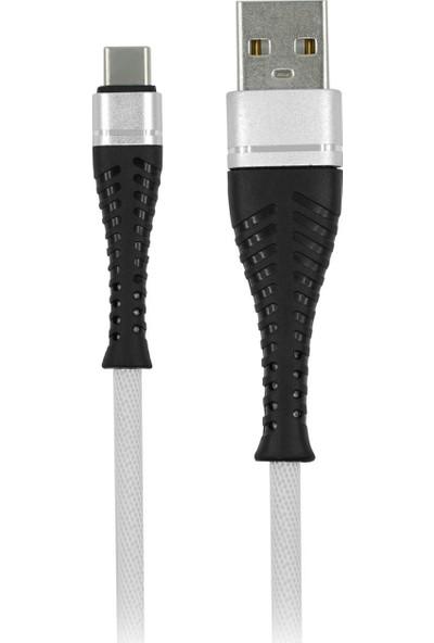 MF Product Jettpower 0046 Metal Başlıklı Örgülü 2.4A Type-C Hızlı Şarj Kablosu 2 m Beyaz