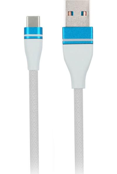 MF Product Jettpower 0056 Metal Başlıklı Örgülü 2.4A Type-C Hızlı Şarj Kablosu 30 cm Beyaz