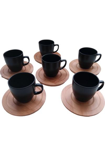 Keramika Mat Siyah Porselen Bambu Tabaklı Fincan Seti