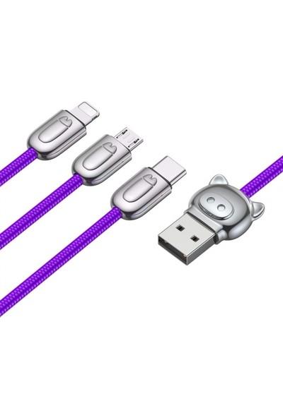Baseus CAMLT-PG03 Camlt 3in1 Type-C/Lightning/Micro USB Çoklu Başlık Halat USB Kablo - Mor