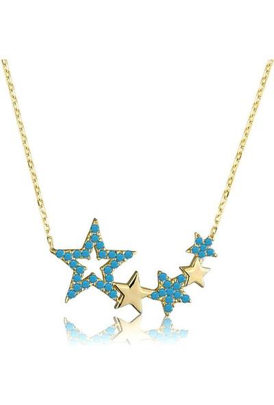 Armagano Gümüş Mavi Yıldızlar Kolye