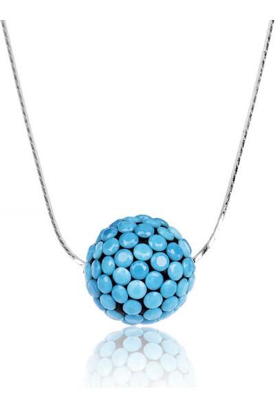 Armagano Gümüş Mavi Taşlı Top Kolye