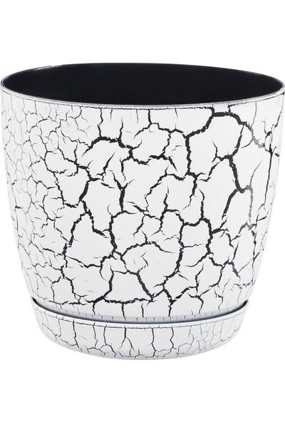 Favilla Floris Mermer görünümlü saksı Beyaz 14 cm Tabaklı 1,5 lt