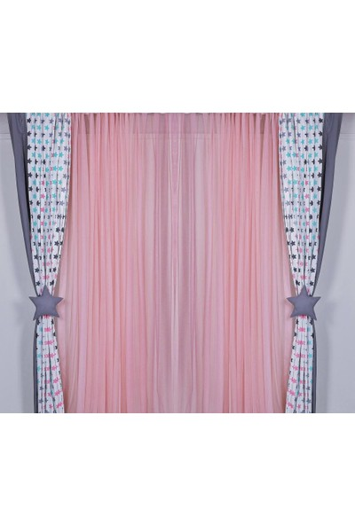 Odeon Pembe Pileli Tül Perde 180 x 260 cm