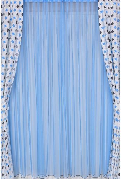 Odeon Mavi Pileli Tül Perde 180 x 260 cm