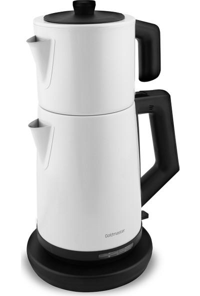 Goldmaster Akasya Çelik Çay Makinesi Çelik İnci Beyaz