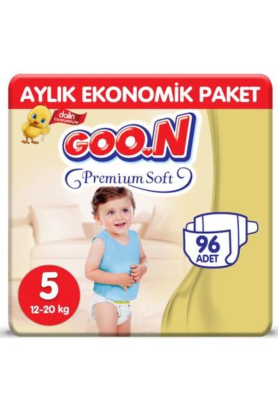 Goon Premium Soft Bebek Bezi 5 Beden Aylık Ekonomik Paket 96 Adet
