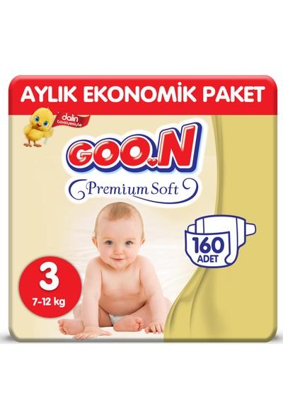 Goon Premium Soft Bebek Bezi 3 Beden Aylık Ekonomik Paket 160 Adet
