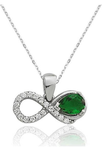 Armagano Gümüş Yeşil Taşlı Sonsuzluk Bayan Kolye
