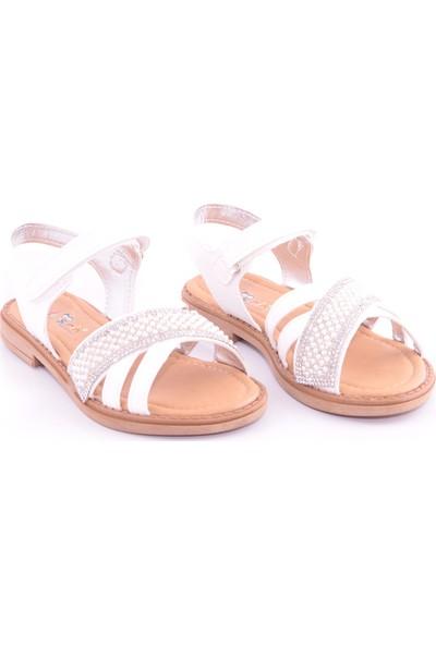 Akıllı Şirin Taş İşlemeli Kız Çocuk Sandalet Beyaz